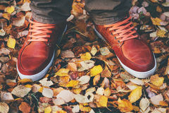 Feet Man leather sneakers walking Outdoor Royalty Free Stock Photos