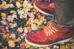 Feet Man leather sneakers walking Outdoor Stock Images