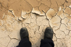 Feet of man standing on dry soil Stock Image