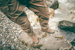 Feet Man trekking boots hiking outdoor Lifestyle Royalty Free Stock Image