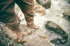 Feet Man trekking boots hiking outdoor Lifestyle Royalty Free Stock Photography
