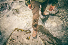 Feet Man trekking boots hiking outdoor Lifestyle Royalty Free Stock Images