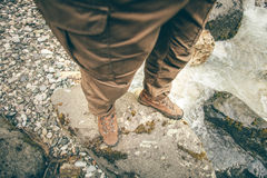 Feet Man trekking boots hiking outdoor Lifestyle Royalty Free Stock Photos