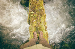 Feet Man trekking boots hiking outdoor Lifestyle Royalty Free Stock Photo