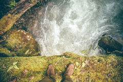 Feet Man trekking boots hiking outdoor Lifestyle Stock Photo