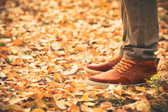 Feet Man walking on fall leaves Outdoor Stock Images