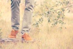 Feet Man walking Outdoor Lifestyle Fashion Royalty Free Stock Photography