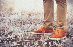 Feet Man walking Outdoor Lifestyle Fashion Stock Photos