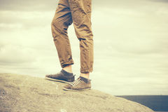 Feet Man walking Outdoor Travel Fashion Lifestyle Royalty Free Stock Photo