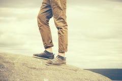 Feet Man walking Outdoor Travel Fashion Lifestyle Royalty Free Stock Photo