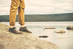 Feet Man walking Outdoor Travel Fashion Lifestyle Stock Photos