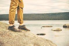 Feet Man walking Outdoor Travel Fashion Lifestyle Stock Photos