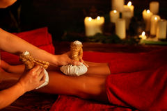 Feet massage with Thai reflexology. Top view of luxury foot therapy. Stock Photography