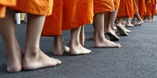 22a86ae7558e Feet of monks walking. In buddhist temple royalty free stock photo