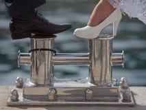 Feet of newly wedded Stock Photos