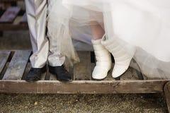 Feet newlywed Stock Photography