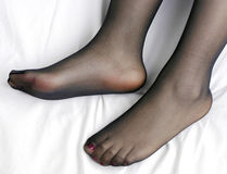 Feet and nylon Royalty Free Stock Photography