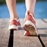 Feet Of Jogging Person Royalty Free Stock Photos