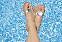 Feet Over the Pool Stock Images