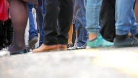 Feet people, tourist or traveler stepping up to the train on railway at train station. Travel, journey, trip concept.  stock footage
