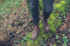Feet of person in nature Stock Photos