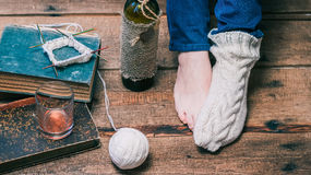 Feet of person wearing Royalty Free Stock Image