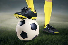 Feet player with a soccer ball 1 Royalty Free Stock Photo