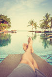 Feet with pool view stock image
