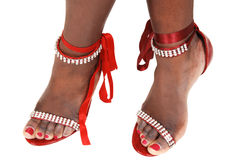 Feet with pretty fashion sandals Stock Image