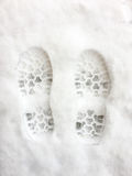 Feet print on the snow Royalty Free Stock Images