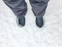 Feet print on the snow Royalty Free Stock Photography
