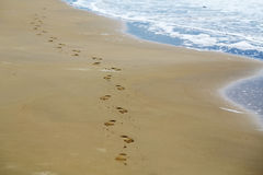 Feet prints on sea beach Royalty Free Stock Images