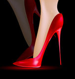 Feet in the red shoes Royalty Free Stock Photos