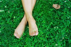Feet resting on grass Stock Images