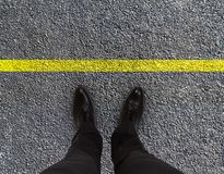 Feet are on road Royalty Free Stock Photo