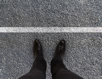Feet are on road Royalty Free Stock Photos