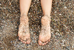 Feet and rocks Stock Photography