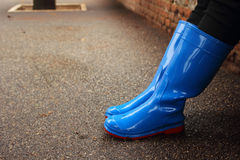 The feet in rubber boots Stock Image