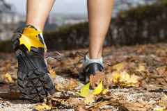 Feet of a runner in autumn leaves Stock Images