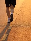 Feet of runner in evening light Royalty Free Stock Images
