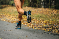 Feet runner marathon running in autumn Park Royalty Free Stock Photography