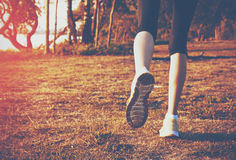 Feet running on grass. Girl jogging outside. Feet running on grass Royalty Free Stock Images
