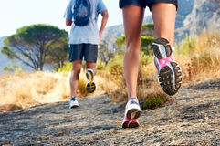 Feet running outdoor Stock Photo