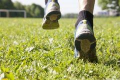 Feet in running shoes, closeup Stock Photos