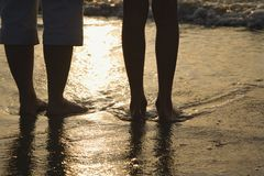 Feet in sand. stock photography