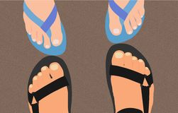 Feet on the sand. The feet on the sand Stock Image