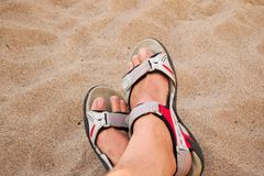 Feet on the sand Royalty Free Stock Photos