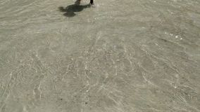 Feet and sand. Baby goes into the sea. Feet and sand stock footage