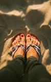 Feet on Sand Beach Royalty Free Stock Photo