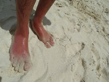 Feet in the sand on the beach Royalty Free Stock Images